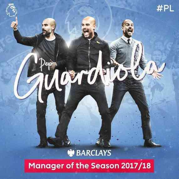 官方:瓜迪奥拉荣获英超赛季最佳教练